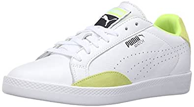PUMA Women's Match LO Basic Sports WN's Tennis Shoe, White/Safety Yellow, 6 M US