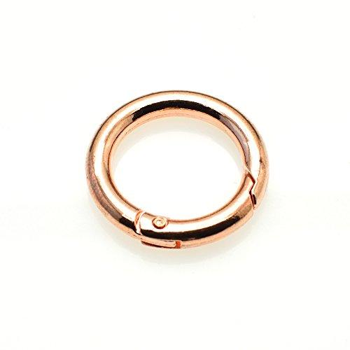 5pcs Gate O Ring Round Carabiner Snap Clip Trigger Spring Keyring Buckle (Rose Gold)