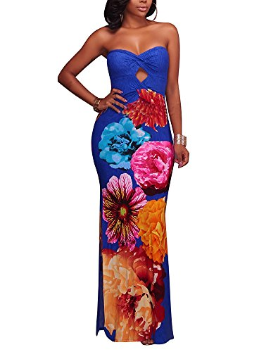 LightlyKiss Wrap Chest Off Shoulder Floral Print Bodycon Summer Long Sexy Party Maxi Ladies Dress Blue