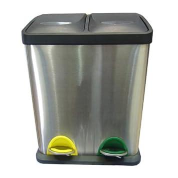 Mülleimer Treteimer 2fach Edelstahlgehäuse Küche Abfalleimer ...