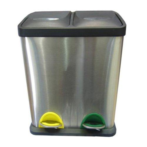 Mülleimer Treteimer 2Fach Edelstahlgehäuse Küche Abfalleimer