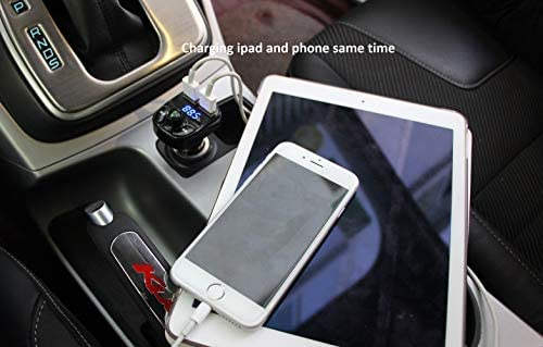 Handsfree Call Car Charger,Wireless Bluetooth FM Transmitter Radio Receiver,Mp3 Audio Music Stereo Adapter,Dual USB Port Charger Compatible for All Smartphones,Samsung Galaxy,LG,HTC,and many others.