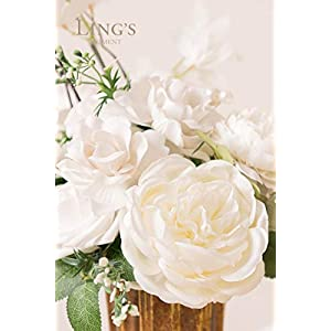 Ling's moment Artificial Flowers Combo Realistic Fake Roses with Stem for DIY Wedding Bouquets Centerpieces Floral Arrangements Decorations (Pearly White) 2