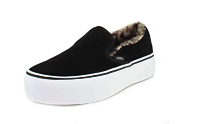 c8240782e2b Vans Classic Slip-On Platform Suede Fur Sneakers Black EU37  Amazon ...
