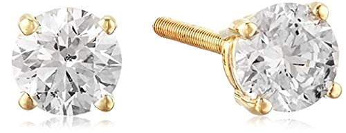 AGS Certified 1/2 Cttw Brilliant-Cut Diamond Classic 4-Prong Screw Back Stud Earrings (K-L Color, I2 Clarity), 14K Yellow Gold