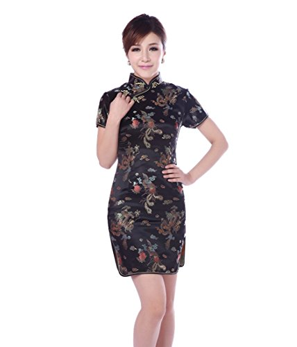 JTC Women Cheongsam Short Sleeve Chinese Dress Slim Skirt Wedding Prop Outfit (4) by Jtc