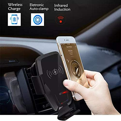 Car Phone Holder Fits All Phone Sizes Wireless Charger Qi 10 W 7.5 W Fast Charging Compatible with iPhone//Samsung//LG etc Auto-Clamping with Sensor and Built-in Motor for easy One Hand Use Black Design