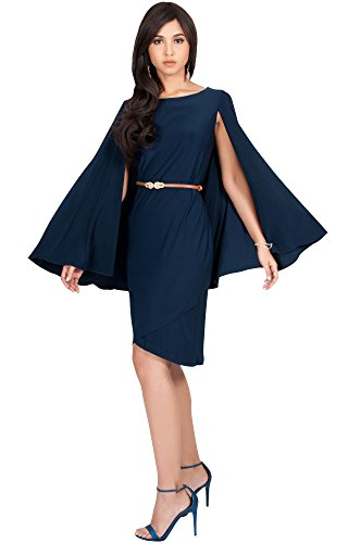 KOH KOH Womens Cape Long Sleeve Round Neck Cocktail with Leather Belt Mini Dress for cheap