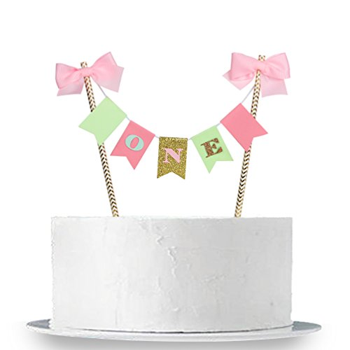 """NE"""" Birthday Cake Topper - 1st First Birthday Cake Bunting for Baby Girl Party Supplies ()"""