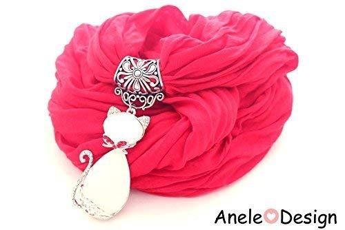 Écharpe bijou Chat argente rouge noeud