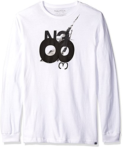 Nautica Men's N38 Graphic Long Sleeve T-Shirt, Bright White, L