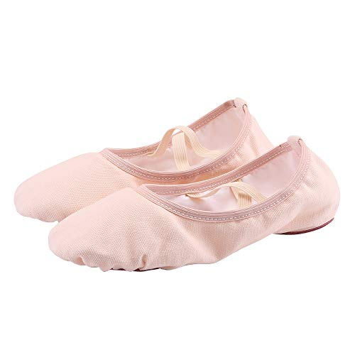 missfiona Girls Canvas Ballet Slippers Ballroom Split-Sole Ballerina Shoes for Toddlers/Little Kids/Big Kids(3.5, -