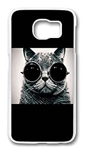 Brian114 Case, S6 Case, Samsung Galaxy S6 Case Cover, Cat Wearing Sunglasses Retro Protective Hard PC Back Case for S6 ( white ) Kimberly Kurzendoerfer