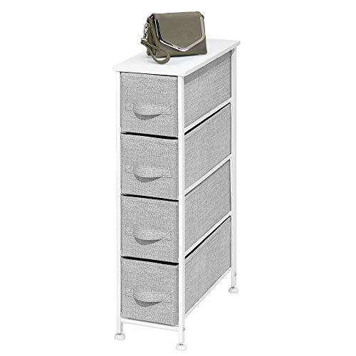 (mDesign Narrow Vertical Dresser Storage Tower - Sturdy Metal Frame, Wood Top, Easy Pull Fabric Bins - Organizer Unit for Bedroom, Hallway, Entryway, Closet - Textured Print, 4 Drawers - Gray/White)