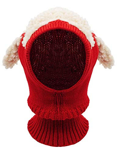 Baby Girls Boys Winter Hat Scarf Earflap Hood Scarves Skull Caps Red One Size