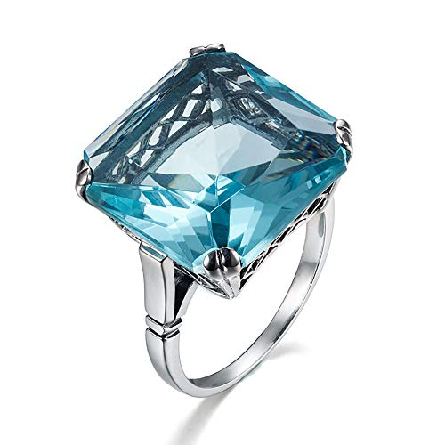 (SZJINAO Luxury Brand Victorian Style 925 Sterling Silver Solitaire10ct Big Square Aquamarine Rings for Women 5# -10# (Blue-10))
