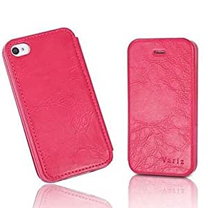 Buy Grain Pattern PU Leather Full Body Case for iPhone 4/4S (Assorted Color) , Black