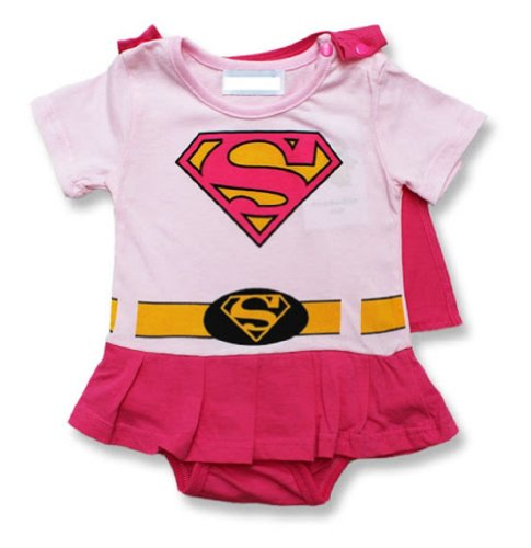 Spiderman Superman Batman Supergirl Baby Toddler All in 1 Fancy Dress Outfit Romper Suits with Cape (90 (12-18month), Supergirl)