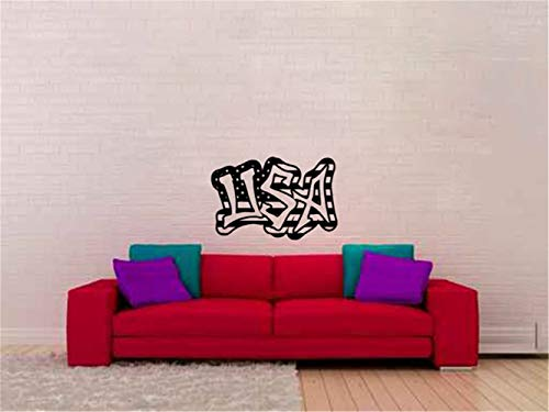 (opplaegh Wall Sticker Quote Wall Decal Funny Wallpaper Removable Vinyl Wall Decal Quote USA Graffiti Stars and Stripes for Living Room)