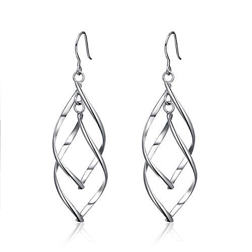WOSTU Platinum Plated Linear Twist Wave Teardrop Earrings, Women's Tassels Dangle Earrings