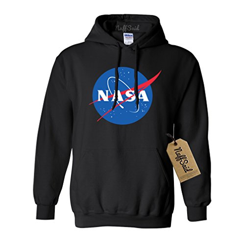 Price comparison product image NuffSaid NASA Worm Logo Hooded Sweatshirt Sweater Pullover - Unisex Hoodie (XLarge