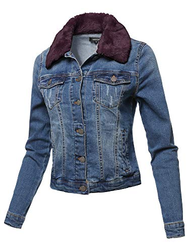 (Awesome21 Casual Fur Collar Stretchable Retro Denim Jacket Burgundy Size S)