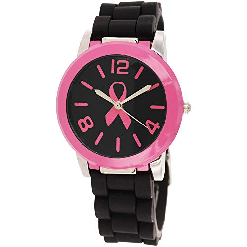 Pink Ribbon Black & Pink Silicone Watch