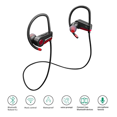 sepoveda bluetooth headphones wireless earbuds with mic sweat proof headphones noise. Black Bedroom Furniture Sets. Home Design Ideas