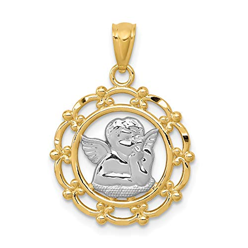 14k Two-Tone Yellow Gold Cherub Angel with Hand on Chin in Round Pendant 23x17mm