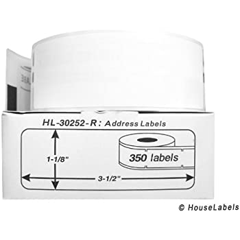 """42 Rolls; 350 Labels per Roll of DYMO-Compatible 30252-R REMOVABLE Address Labels (1-1/8"""" x 3-1/2"""") -- BPA Free!"""