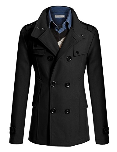 Doublju Mens Half Trench Coat BLACK (US-S) by Doublju