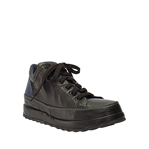 8100 Melrose Svart / Blå Läder Snörning Hög Top Sneaker På Små Kilklack Brun-blå