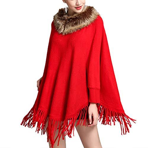 HANMAX Manteau Cape de Laine Hiver Femme Pull Col en Fourrure Manches Longue Automne Taille Unique Rouge