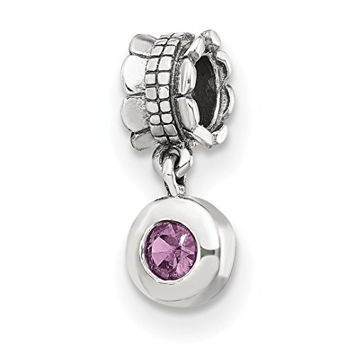 925 Sterling Silver Charm For Bracelet Pink Cubic Zirconia Cz Round Dangle Bead Stone Crystal Ed Fine Jewelry Gifts For Women For Her