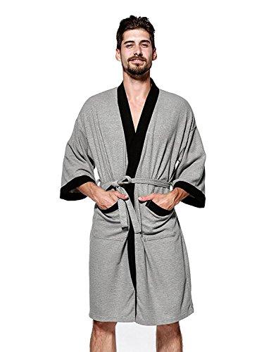 YIMANIE Mens Waffle Weave Robe Kimono Spa Bathrobe, Grey, X-Large