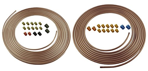 Copper Nickel Tube - Copper Nickel Brake Line Tubing Kit 3/16 and 1/4 25 Ft Coil Rolls With Fittings (L-5-5 + L-5-4)