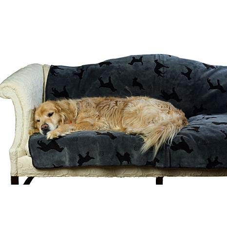 Carolina Pet 015430 Plush Embossed Tossed Dog Throw - Charcoal44; Large