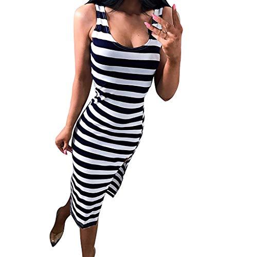 Woman's Dress,Freesa Classic Striped Split Vest Sleeveless Round Neck Dress and Ankle Skirt Summer Fashion Casual Brief Stripe O-Neck Split Casual Sleeveless Bodycon Long Tank Dress