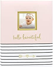 Pearhead Hello Beautiful, First 5 Years Baby Memory Book with Photo Insert, Pink