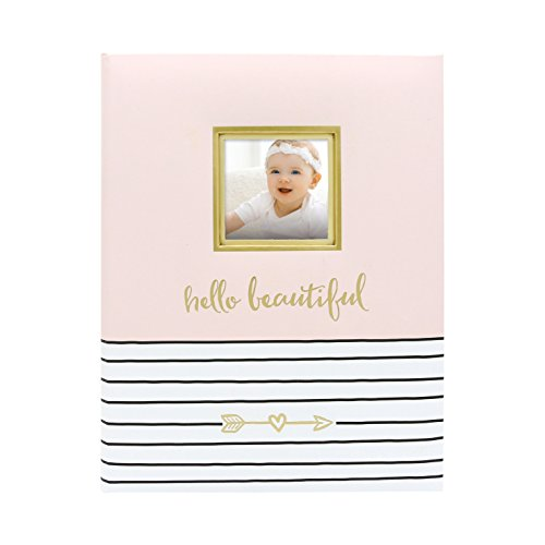 (Pearhead Hello Beautiful, First 5 Years Baby Memory Book with Photo Insert, Pink)