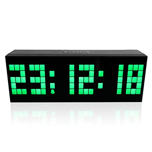 m·kvfa Multi-Function Remote Control Luminous Digital Timer 6-bit 5 Segment LED Clock Desktop Table Clocks Low Power Consumption for Airport Exhibition Hall Office Hospital Hotel (Green)