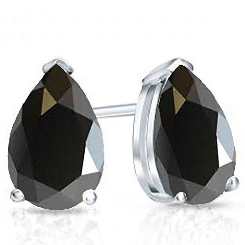 Sterling Silver 7x5mm Each Pear Cut Black Sapphire Ladies Solitaire Stud Earrings ()