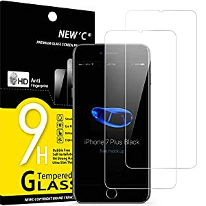 NEW'C Lot de 2, Verre Trempé Compatible avec iPhone 7 Plus et iPhone 8 Plus, Film Protection écran sans Bulles d'air…