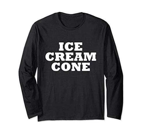 Ice Cream Cone Halloween Easy Costume Funny Party T Shirt Long Sleeve -