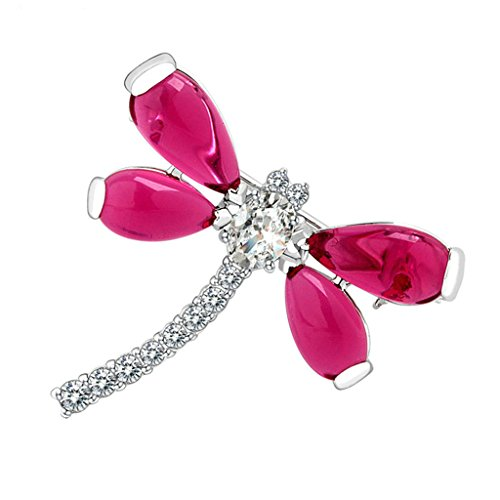 Adisaer Womens White Gold Plated Brooches and Pins for Wedding Dragonfly Red Cubic (Cubic Zirconia Dragonfly Brooch)