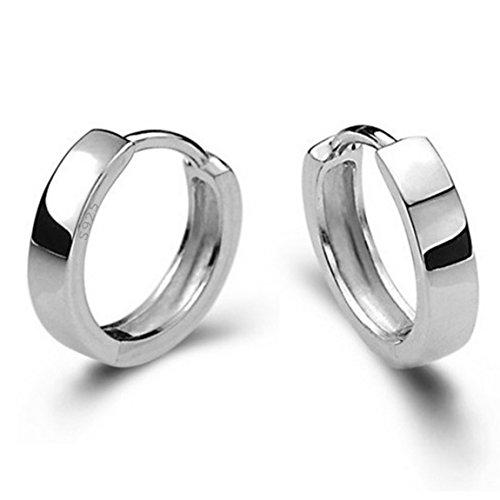 (AMBESTEE Men Women Girls Fashion Jewelry 925 Sterling Silver Plated Hoop Huggie Earrings Studs Set)