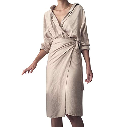 Womens Casual Wrap Dress,NEWONESUN Spring Solid V-Neck Irregular Linen Long Sleeve Bandage Kimono Maxi Dress