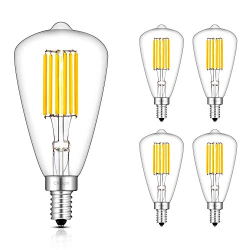 CRLight 6W LED Candelabra Bulb 3000K Soft White 700LM, 70W Equivalent Dimmable E12 Base LED Bulbs, ST48(ST14) Antique Edison Style, 360 Degree Beam Angle, Pack of 4 (Led T6 Candelabra)