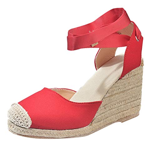 ◕‿◕Water◕‿◕ Sandals for Women,Spring Sandals Wedge Cross Strap High Heel Closed Toe Sandals Platform Pump Shoes Sandals Red]()