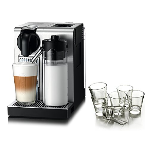 DeLonghi Nespresso Lattissima Stainless Steel Pro Machine with Free Set of 6 Espresso Glasses (Pro Lattissima Nespresso Delonghi)